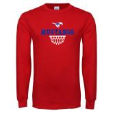 Red Long Sleeve T Shirt-Basketball Design 2