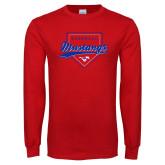 Red Long Sleeve T Shirt-Baseball Design 2
