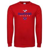 Red Long Sleeve T Shirt-Soccer Design 1