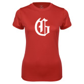 Ladies Syntrel Performance Red Tee-Old English G
