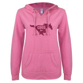 ENZA Ladies Hot Pink V Notch Raw Edge Fleece Hoodie-M Hot Pink Glitter