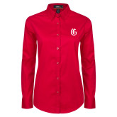Ladies Red Twill Button Down Long Sleeve-Old English G