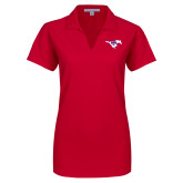 Ladies Red Dry Zone Grid Polo-Primary Mark