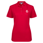 Ladies Easycare Red Pique Polo-Old English G