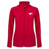 Ladies Fleece Full Zip Red Jacket-Secondary Mark