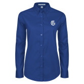 Ladies Royal Twill Button Down Long Sleeve-Old English G