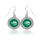 Crystal Studded Round Pendant Silver Dangle Earrings-Lions