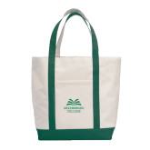 Contender White/Dark Green Canvas Tote-Greensboro College