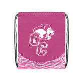 Nylon Zebra Pink/White Patterned Drawstring Backpack-Official Logo