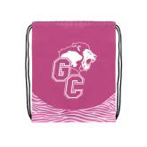 Nylon Zebra Pink/White Patterned Drawstring Backpack-Official Logo