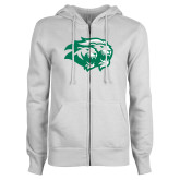 ENZA Ladies White Fleece Full Zip Hoodie-Lions