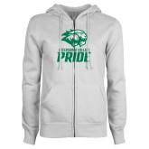 ENZA Ladies White Fleece Full Zip Hoodie-GC Pride Lions