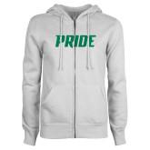 ENZA Ladies White Fleece Full Zip Hoodie-Pride