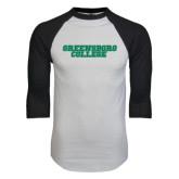 White/Black Raglan Baseball T-Shirt-Wordmark