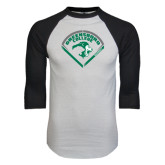 White/Black Raglan Baseball T-Shirt-Baseball Design