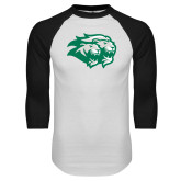 White/Black Raglan Baseball T Shirt-Lions