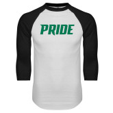 White/Black Raglan Baseball T Shirt-Pride