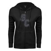 ENZA Ladies Black Fleece Full Zip Hoodie-GC Graphite Glitter