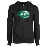 ENZA Ladies Black Fleece Full Zip Hoodie-Lions