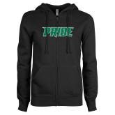 ENZA Ladies Black Fleece Full Zip Hoodie-Pride