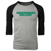 Grey/Black Tri Blend Baseball Raglan-Wordmark
