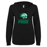 ENZA Ladies Black V Notch Raw Edge Fleece Hoodie-GC Pride Lions