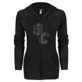 ENZA Ladies Black Light Weight Fleece Full Zip Hoodie-GC Graphite Glitter