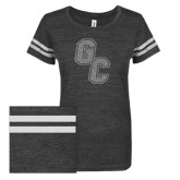 ENZA Ladies Black/White Vintage Triblend Football Tee-GC Silver Soft Glitter