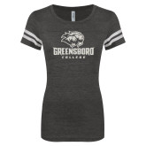 ENZA Ladies Black/White Vintage Football Tee-C White Soft Glitter