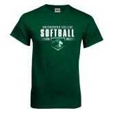 Dark Green T Shirt-Softball Design