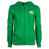ENZA Ladies Kelly Green Fleece Full Zip Hoodie-Lions