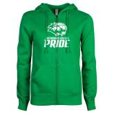 ENZA Ladies Kelly Green Fleece Full Zip Hoodie-GC Pride Lions