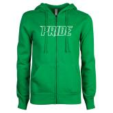 ENZA Ladies Kelly Green Fleece Full Zip Hoodie-Pride