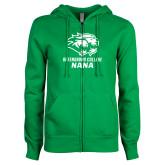 ENZA Ladies Kelly Green Fleece Full Zip Hoodie-Nana