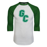 White/Dark Green Raglan Baseball T-Shirt-GC