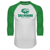 White/Kelly Green Raglan Baseball T Shirt-Primary Mark