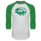 White/Kelly Green Raglan Baseball T Shirt-Lions