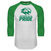 White/Kelly Green Raglan Baseball T Shirt-GC Pride Lions