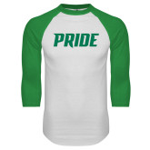 White/Kelly Green Raglan Baseball T Shirt-Pride