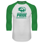 White/Kelly Green Raglan Baseball T Shirt-Baseball