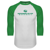 White/Kelly Green Raglan Baseball T Shirt-Baseball Seams