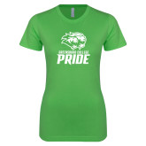 Next Level Ladies SoftStyle Junior Fitted Kelly Green Tee-GC Pride Lions