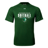 Under Armour Dark Green Tech Tee-Softball Design