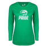 Ladies Syntrel Performance Kelly Green Longsleeve Shirt-GC Pride Lions