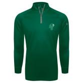 Under Armour Dark Green Tech 1/4 Zip Performance Shirt-Official Logo