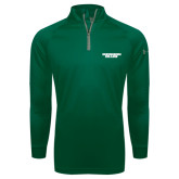 Under Armour Dark Green Tech 1/4 Zip Performance Shirt-Solid Wordmark