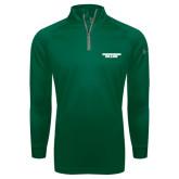Under Armour Dark Green Tech 1/4 Zip Performance Shirt-Solid Wordmark