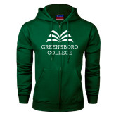 Dark Green Fleece Full Zip Hoodie-Greensboro College