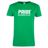 Ladies Kelly Green T Shirt-Pride Stacked