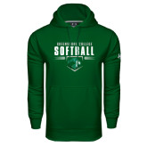 Under Armour Dark Green Performance Sweats Team Hoodie-Softball Design